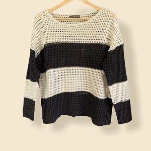 CYC Large Crochet Pattern Sweater Black/Tan